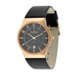 Skagen Men's 233XXLRLB Black Calf Skin Quartz Watch with Black Dial