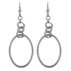 Fremada Platinum over Silver Oval Dangle Earrings