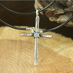 Sterling Silver Tied Rope Cross Necklace (Mexico)