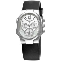 Philip Stein Women's 'Classic Chrono' Black Rubber Strap Watch