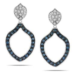 Miadora 10k Gold 1/2ct TDW Blue and White Diamond Dangle Earrings (G-H, I2-I3)