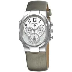 Philip Stein Women's 'Classic Chrono' Platinum Silk Strap Watch