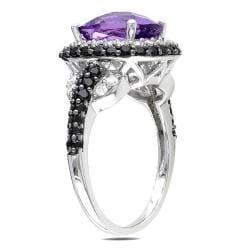 Miadora Sterling Silver Amethyst, Cubic Zirconia and Spinel Ring