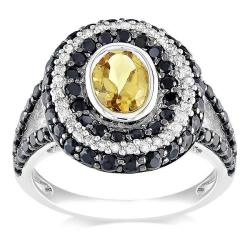 Miadora Sterling Silver Citrine, Spinel and 1/6ct TDW Diamond Ring (G-H, I2-I3)