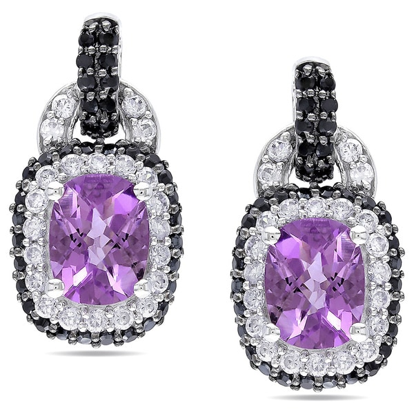 Miadora Sterling Silver Amethyst, Cubic Zirconia and Spinel Earrings