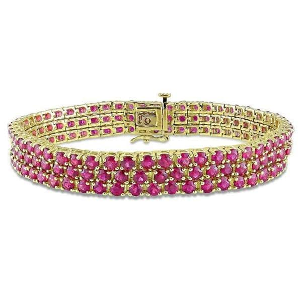 Miadora Signature Collection 10k Yellow Gold Pink Sapphire 3-row Link Bracelet