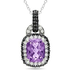Miadora Sterling Silver Amethyst, Cubic Zirconia and Spinel Necklace