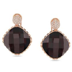 Miadora Signature Collection 14k Pink Gold Garnet and 1/3ct TDW Diamond Earrings (G-H, SI1-SI2)