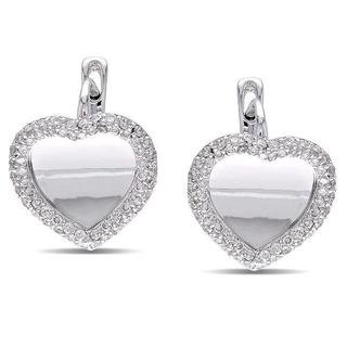 Miadora 18k White Gold 4/5ct TDW Diamond Heart Earrings (G-H, SI1-SI2)