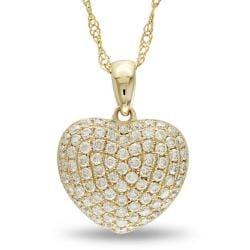 Miadora 14k Yellow Gold 1/2ct TDW Diamond Heart Necklace (G-H, SI1-SI2)