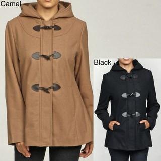 Women's Wool Hooded Toggle Coat