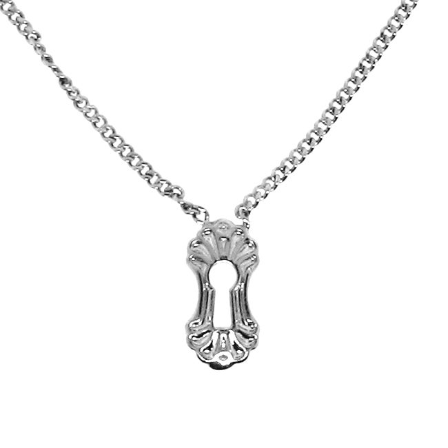 Silvertone Pad Lock and Key Necklace