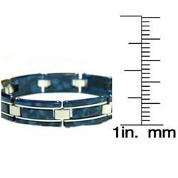 Stainless Steel Blue Marble Link Bracelet