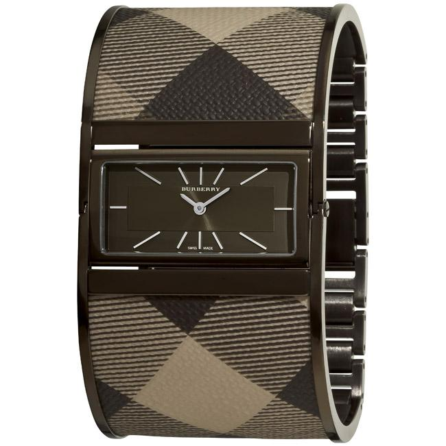 Burberry Women's Large 'Reversible' Smoked Check Fabric Bangle Watch