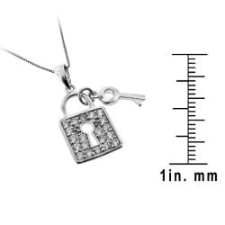 Sterling Silver Cubic Zirconia Pad Lock and Key Necklace