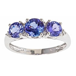 D'Yach 14k White Gold Tanzanite and 1/10ct TDW Diamond Ring (G-H)(I1-I2)