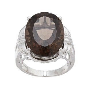 Oro Leoni Sterling Silver Smokey Quartz Ring  (Size 7)