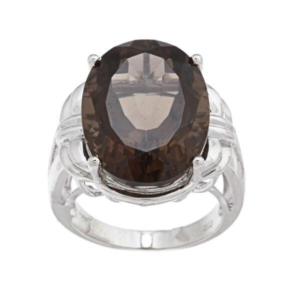 Oro Leoni Sterling Silver Smokey Quartz Ring (Size 7)
