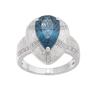 Oro Leoni Sterling Silver Blue Topaz and Diamond Accent Ring  (Size 7)