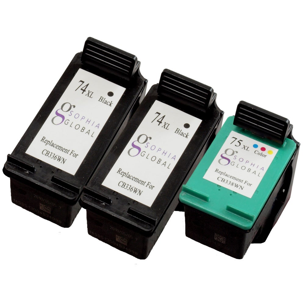 Sophia Global HP 74XL Black and HP 75XL Color Ink Cartridge (Remanufactured)