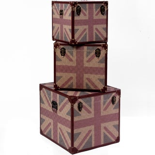 Christopher Knight Home UK Flag Trunks (Set of 3)