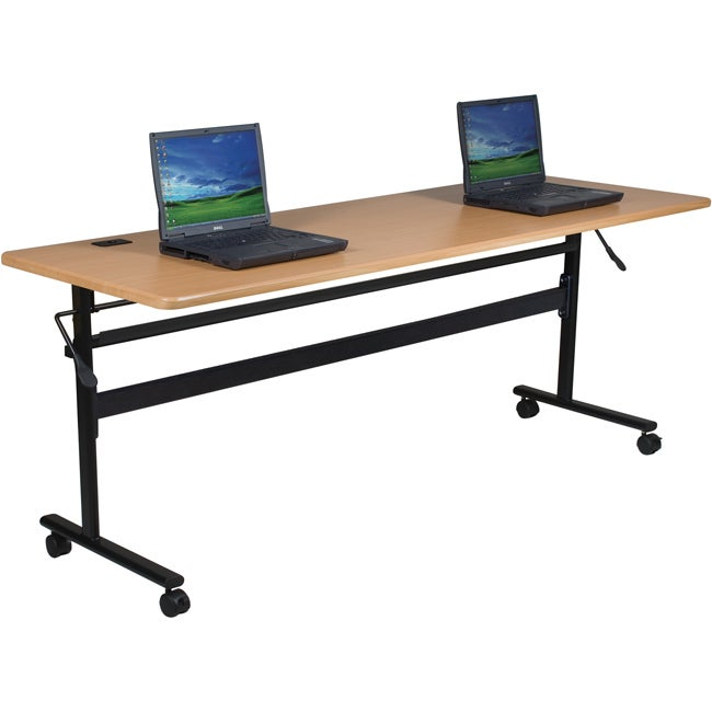 "Economy Steel Flipper Table with Wood Grain Finish (72"" x 24"")"