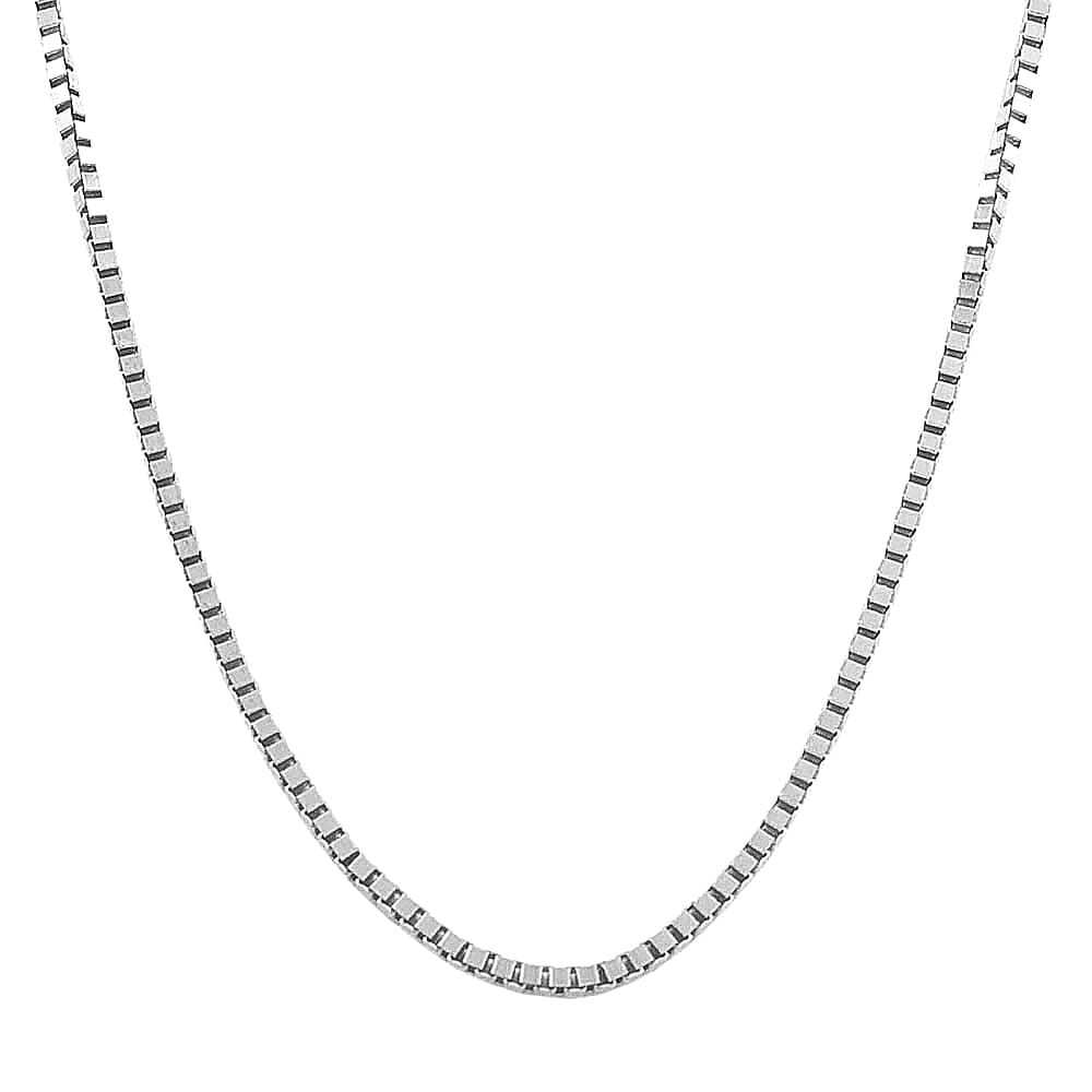 Fremada Rhodium Plated Sterling Silver 1 mm Adjustable Box Chain Necklace