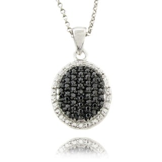 Finesque Sterling Silver 1/4ct TDW Black Diamond Oval Necklace