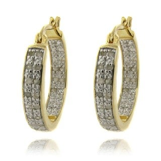 Finesque 18k Gold over Silver 1/2ct TDW Diamond Hoop Earrings (I-J, I2-I3)