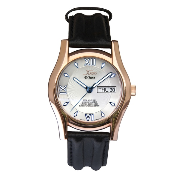 Xezo Men's Rose Gold Overlay Swiss Automatic Watch