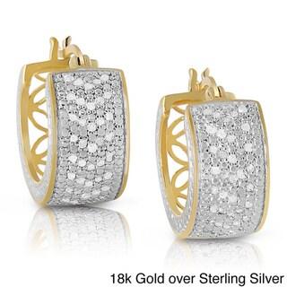 Finesque Sterling Silver 1ct TDW Diamond Hoop Earrings (I-J, I2-I3)