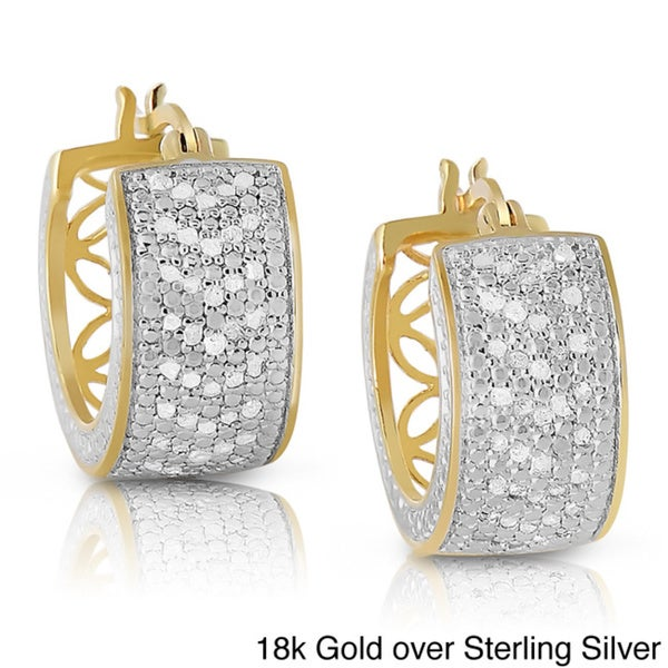 Finesque Sterling Silver 1ct TDW Diamond Hoop Earrings (I-J, I2-I3)