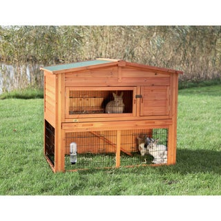 Natura Glazed-pine Two-story Weatherproof Hutch for Small Animals