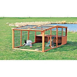 Outdoor Run with Mesh Cover/Wooden Roof (XL)