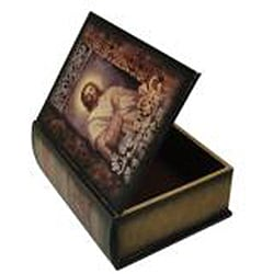 Secret Jewelry & Keepsake Book Box with Colonial Bible (Set of 2)