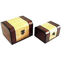 Decorative Jewelry & Keepsake Box in Mahogany (Set of 2)