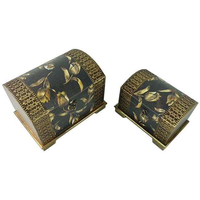 Classic Jewelry & Keepsake Box in Black & Gold Flower (Set of 2)