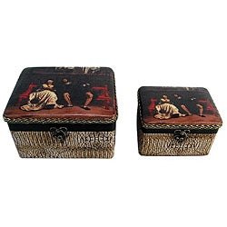 Decorative Jewelry & Keepsake Box with Victorian King & Queen (Set of 2)
