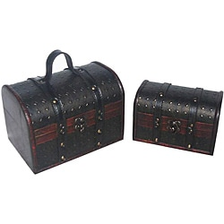 Travel Jewelry & Keepsake Box in Aged Mahogany & Black Leather (Set of 2)