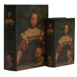 Secret Jewelry & Keepsake Book Box with Victorian Lady on Leather (Set of 2)