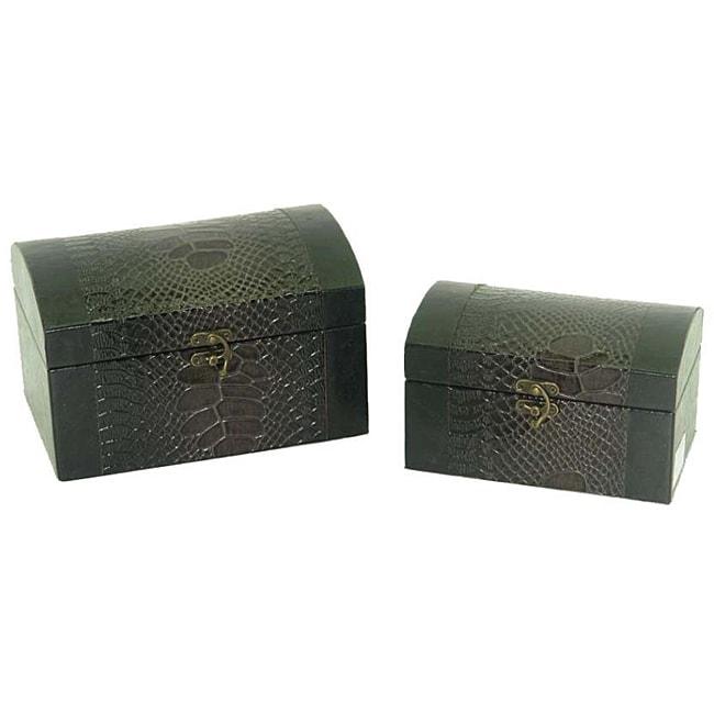 Faux Leather Jewelry & Keepsake Box in Dark Purple & Black (Set of 2)