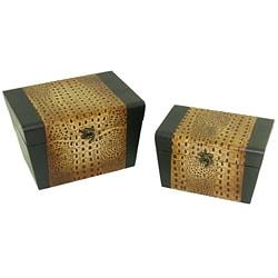 Faux Leather Jewelry & Keepsake Box in Black & Brown (Set of 2)