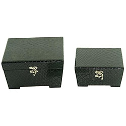 Faux Leather Jewelry & Keepsake Box in Polished Black (Set of 2)