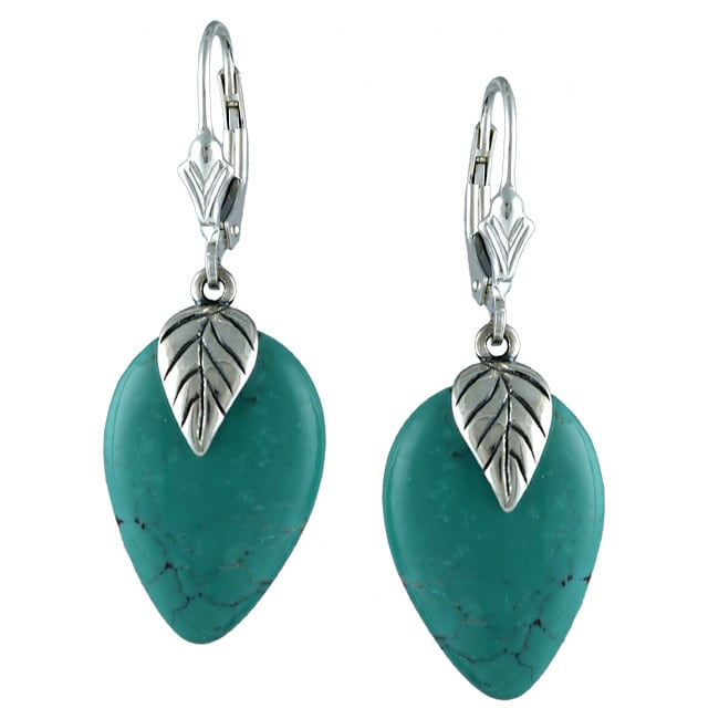 Southwest Moon Sterling Silver Turquoise Leaf Cap Earrings