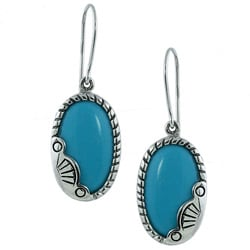 Southwest Moon Sterling Silver Trim Oval Turquoise Earrings
