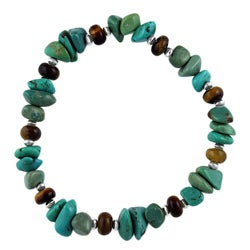 Southwest Moon Silver Turquoise and Tiger's Eye Stretch Bracelet