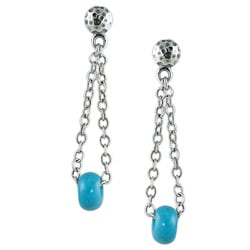 Silvermoon Sterling Silver Turquoise Bead Chain Post Earrings