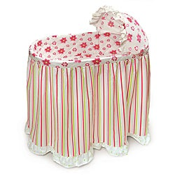 Embrace Bassinet with Stripe and Flower Bedding Set