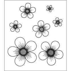 Heartfelt Creations Posy Patch Flowers Cling Rubber Stamp Set