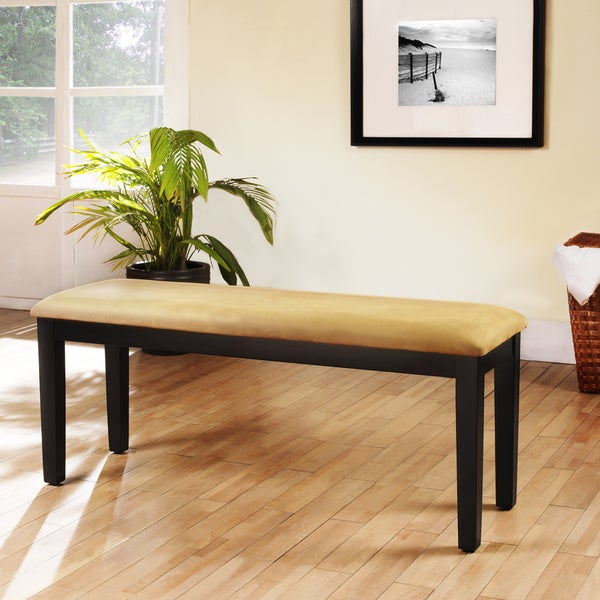 TRIBECCA HOME Wilmington Black Microfiber Cushioned 48-inch Bench
